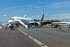 The newest Airbus A350-900 XWB at the airfield. Royalty Free Stock Images