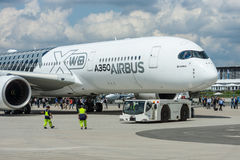 The newest Airbus A350 XWB at the airfield. Stock Photography