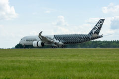 The newest Airbus A350 XWB at the airfield. Royalty Free Stock Images