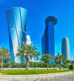 In business district of Doha, Qatar. The newest in city district is decorated with lush greenery around the modern skyscrapers, Al Dafna, West Bay, Doha, Qatar royalty free stock images