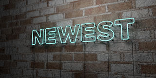 NEWEST - Glowing Neon Sign on stonework wall - 3D rendered royalty free stock illustration Royalty Free Stock Images