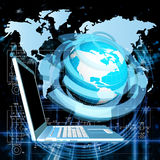 The newest Internet technologies. In the field of space research Stock Photo