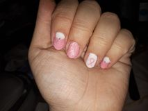 Newest nail art pink ribon month stock photography