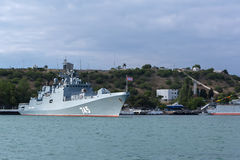 Newest patrol ship Admiral Grigorovich 745. Warships in Sevastopol naval base Black Sea Fleet. Crimea Royalty Free Stock Photography