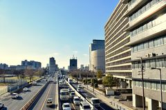 2018 newest photo of the central business district of Osaka Japan. The latest photo of the central business district of Osaka Japan, A lot of cars are driving on Stock Photo