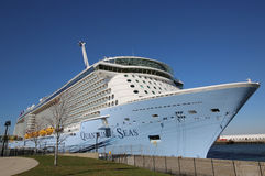Newest Royal Caribbean Cruise Ship Quantum of the Seas docked at Cape Liberty Cruise Port before inaugural voyage Royalty Free Stock Photo