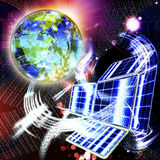 The newest space technologies. Allow to solve problems on solar energy transformation Royalty Free Stock Image