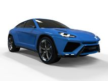 The newest sports all-wheel drive blue premium crossover in a white background. 3d rendering. The newest sports all-wheel drive blue premium crossover in a Royalty Free Stock Photography