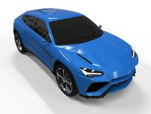 The newest sports all-wheel drive blue premium crossover in a white background. 3d rendering. The newest sports all-wheel drive blue premium crossover in a Stock Photo