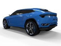 The newest sports all-wheel drive blue premium crossover in a white background. 3d rendering. The newest sports all-wheel drive blue premium crossover in a Stock Images