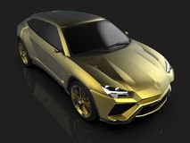 The newest sports all-wheel drive gold premium crossover in a black studio with a reflective floor. 3d rendering. The newest sports all-wheel drive gold premium Stock Images