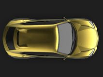The newest sports all-wheel drive gold premium crossover in a black studio with a reflective floor. 3d rendering. The newest sports all-wheel drive gold premium Royalty Free Stock Image