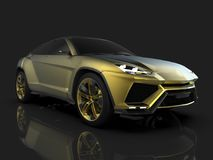 The newest sports all-wheel drive gold premium crossover in a black studio with a reflective floor. 3d rendering. The newest sports all-wheel drive gold premium Royalty Free Stock Photography
