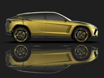 The newest sports all-wheel drive gold premium crossover in a black studio with a reflective floor. 3d rendering. The newest sports all-wheel drive gold premium Stock Photos