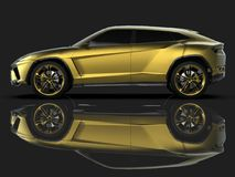 The newest sports all-wheel drive gold premium crossover in a black studio with a reflective floor. 3d rendering. The newest sports all-wheel drive gold premium Stock Photography