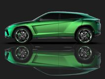 The newest sports all-wheel drive green premium crossover in a black studio with a reflective floor. 3d rendering. The newest sports all-wheel drive green Stock Images