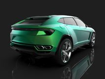 The newest sports all-wheel drive green premium crossover in a black studio with a reflective floor. 3d rendering. The newest sports all-wheel drive green Stock Image