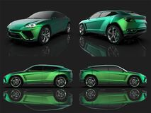 The newest sports all-wheel drive green premium crossover in a black studio with a reflective floor. 3d rendering. The newest sports all-wheel drive green Stock Photography