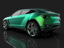 The newest sports all-wheel drive green premium crossover in a black studio with a reflective floor. 3d rendering. Stock Photo