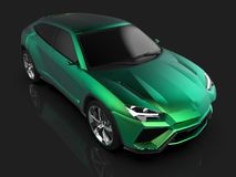 The newest sports all-wheel drive green premium crossover in a black studio with a reflective floor. 3d rendering. The newest sports all-wheel drive green Stock Photos