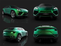 The newest sports all-wheel drive green premium crossover in a black studio with a reflective floor. 3d rendering. The newest sports all-wheel drive green Royalty Free Stock Image