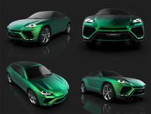 The newest sports all-wheel drive green premium crossover in a black studio with a reflective floor. 3d rendering. The newest sports all-wheel drive green Royalty Free Stock Photos