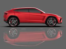 The newest sports all-wheel drive red premium crossover in a gray studio with a reflective floor. 3d rendering. The newest sports all-wheel drive red premium Stock Photography