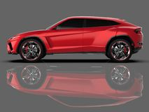 The newest sports all-wheel drive red premium crossover in a gray studio with a reflective floor. 3d rendering. The newest sports all-wheel drive red premium Stock Images