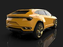 The newest sports all-wheel drive yellow premium crossover in a black studio with a reflective floor. 3d rendering. The newest sports all-wheel drive yellow Stock Photo