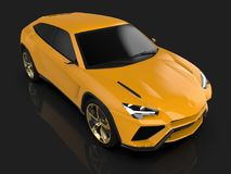 The newest sports all-wheel drive yellow premium crossover in a black studio with a reflective floor. 3d rendering. The newest sports all-wheel drive yellow Royalty Free Stock Images