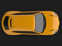 The newest sports all-wheel drive yellow premium crossover in a black studio with a reflective floor. 3d rendering. The newest sports all-wheel drive yellow Royalty Free Stock Photos