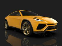 The newest sports all-wheel drive yellow premium crossover in a black studio with a reflective floor. 3d rendering. The newest sports all-wheel drive yellow Royalty Free Stock Photography