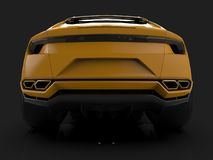 The newest sports all-wheel drive yellow premium crossover in a black studio with a reflective floor. 3d rendering. The newest sports all-wheel drive yellow Stock Images