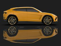 The newest sports all-wheel drive yellow premium crossover in a black studio with a reflective floor. 3d rendering. The newest sports all-wheel drive yellow Royalty Free Stock Image