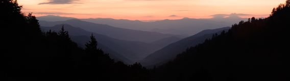 Newfound Gap Sunrise Panorama. Sunrise over the mountain Valley, as seen from Newfound Gap in the Smoky Mountains Nat. Park, USA. A stitched panorama of ~14 stock image