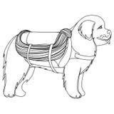 Newfoundland dog lifesaver outline Royalty Free Stock Images