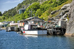 Newfoundland Fishing Boats. Fishing boats and fishing shacks in Quidi Vidi, outside of St. John's, Newfoundland Stock Photo