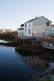 Newfoundland fishing shack. Traditional fishing shacks on coastline of Fogo Island, Newfoundland and Labrador, Canada Royalty Free Stock Images