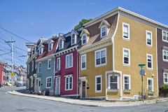 Newfoundland Houses. Unique architecture in the colorful houses on the steep streets of St. John's, Newfoundland royalty free stock images