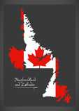 Newfoundland and Labrador Canada map with Canadian national flag Stock Images