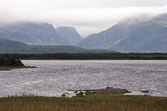 Newfoundland mountains in clouds Royalty Free Stock Images