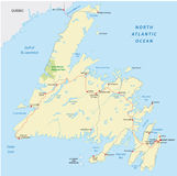 Newfoundland road map Stock Image