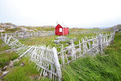 Newfoundland Scenic, Red House, Stick Fence. Canada Royalty Free Stock Images