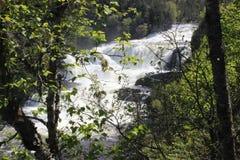 Newfoundland Waterfall Bakers Brooks. Newfoundland and Labrador Waterfall at Gros Morne Mountain National park. Bakers Brook Falls. Hiking trip Stock Photos