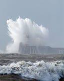 Newhaven latarnia morska w Szorstkim morzu Obrazy Stock