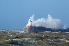 Newhaven Lighthouse with Waves in Sun Stock Image