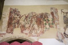 Newington del sud, Oxfordshire, Inghilterra, il 5 maggio 2016, una vista della pittura di sorte avversa alla chiesa dei Vincula d immagini stock libere da diritti