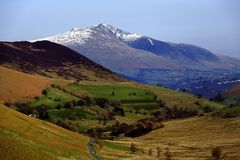 Newlands Valley. Snow over Skiddaw from the Newlands Valley Stock Images