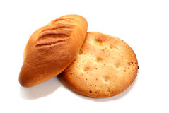Newly-baked bred. Newly-baked home-made bred against white background stock image