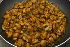 Newly baked mushrooms in sauteed pan. Very fresh and delicious royalty free stock photo